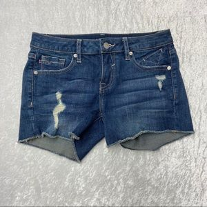 Vigoss Blue Denim Jean Distressed Zip Fly Shorts
